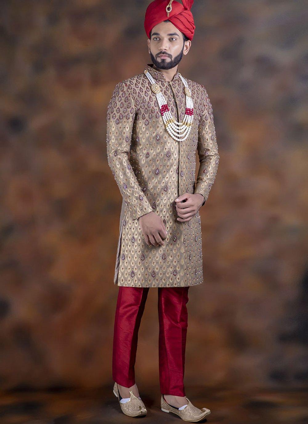 Beige Wedding Jacquard Indo Western Sherwani