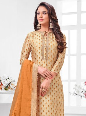 Beige Zari Party Salwar Suit