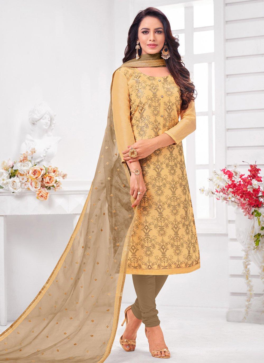 Beige Zari Silk Pant Style Suit