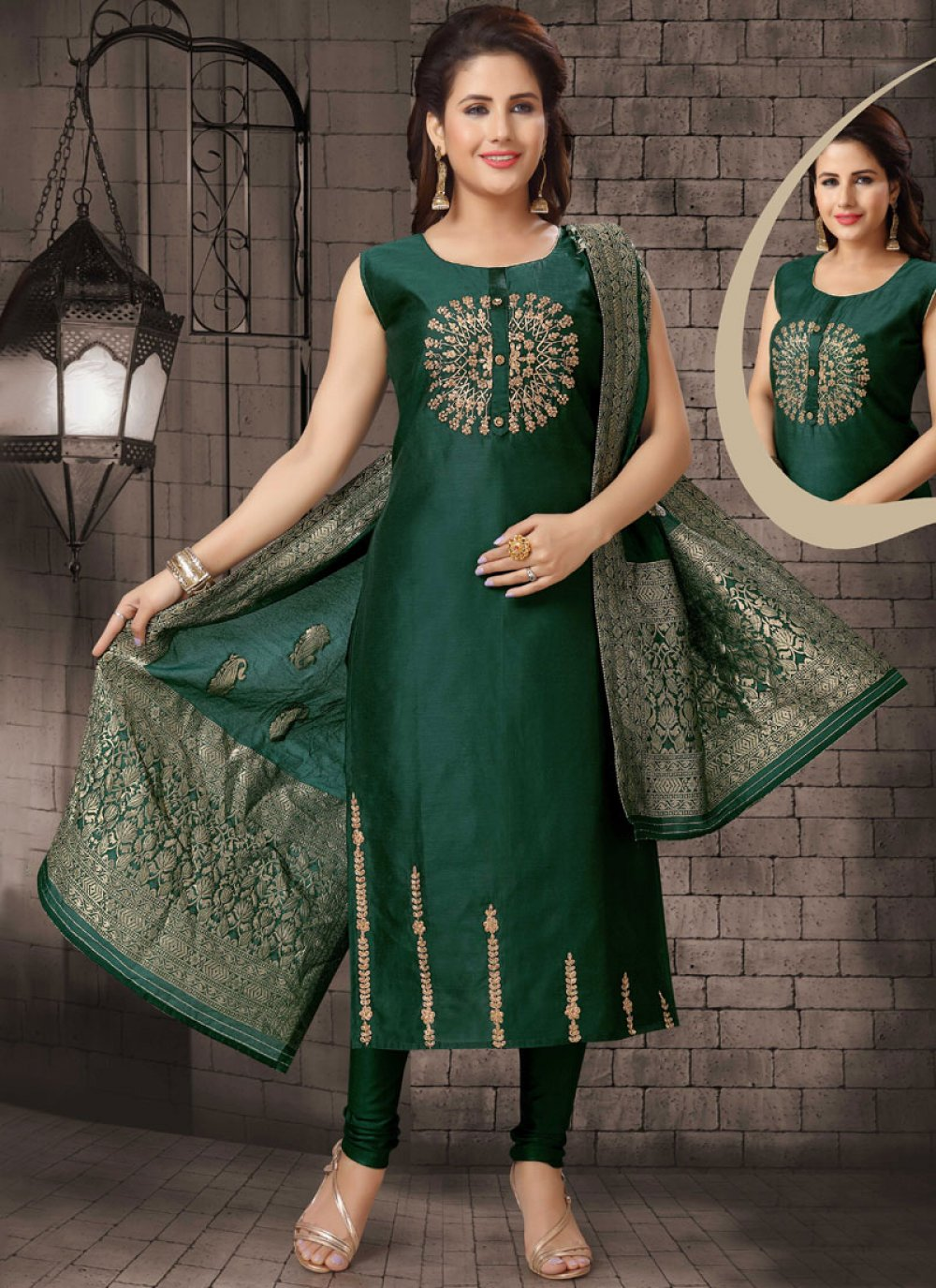 Bhagalpuri Silk Dori Work Green Salwar Suit