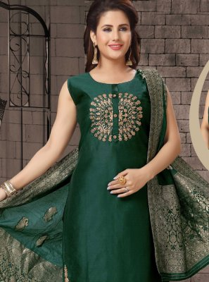 Bhagalpuri Silk Dori Work Green Salwar Suit