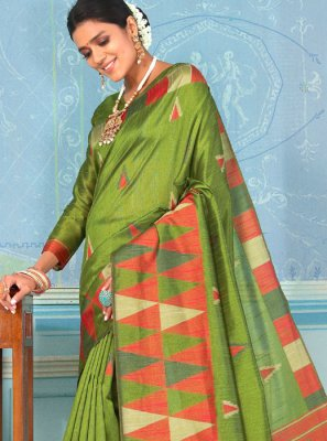 Bhagalpuri Silk Green Weaving Designer Traditional Saree