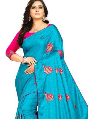 Pink and Blue Classic Designer Saree