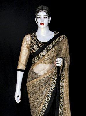 Black and Cream Net Mehndi Designer Saree