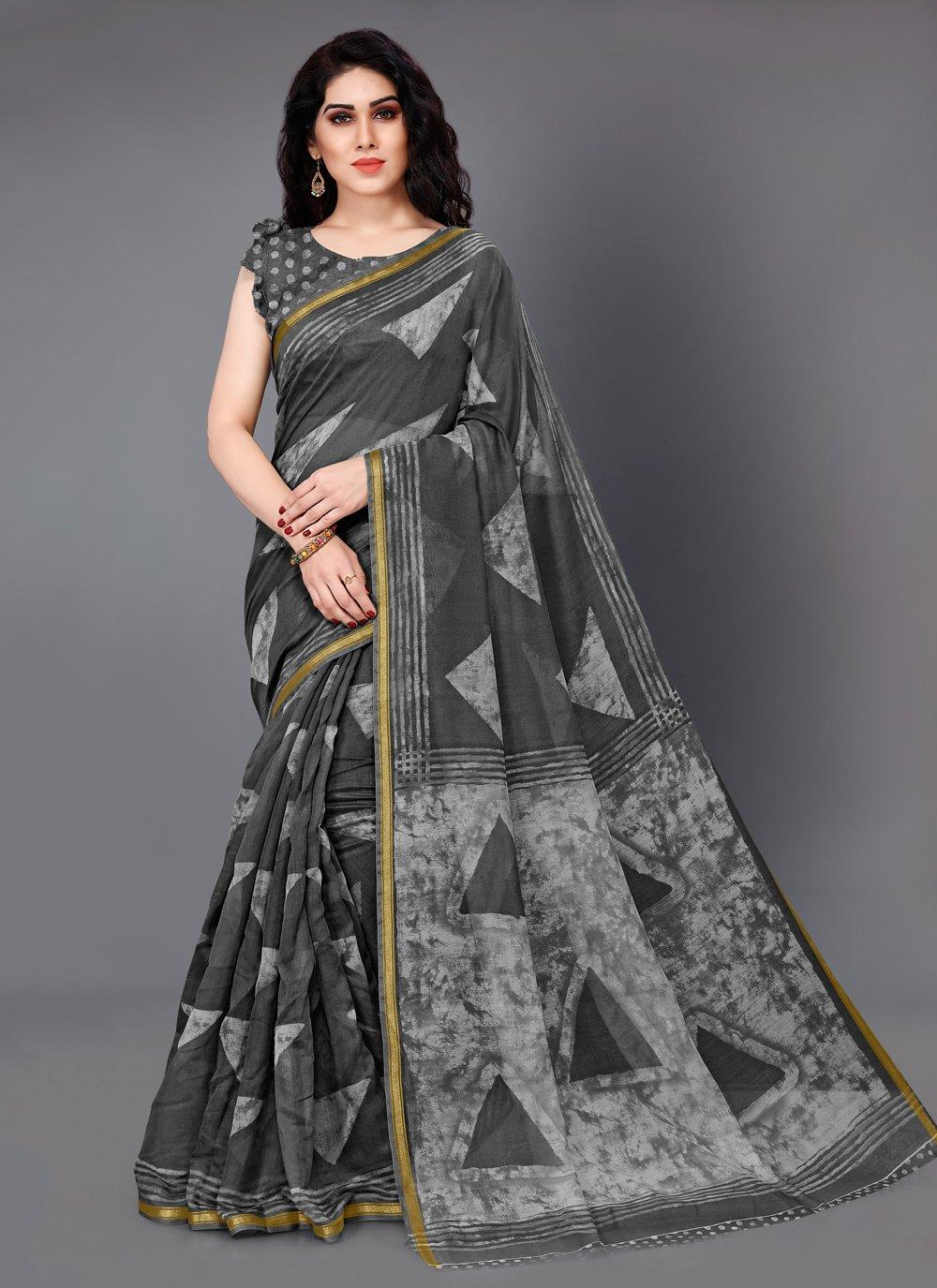 Black and Grey Cotton Party Trendy Saree