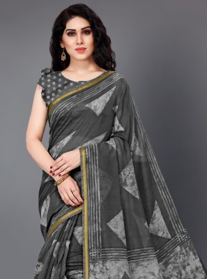 Black and Grey Cotton Party Trendy Saree