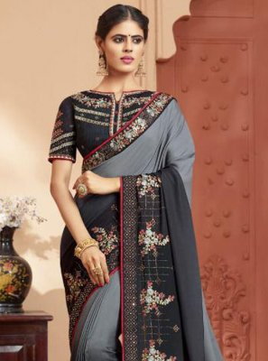 Black and Grey Festival Silk Trendy Saree