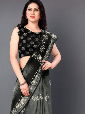 Black and Grey Printed Cotton Saree