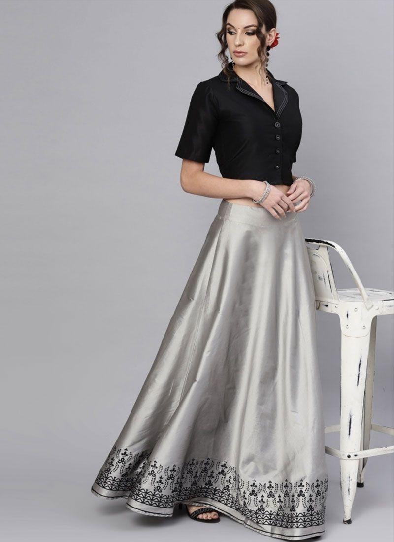 Black and Grey Printed Polyester Readymade Lehenga Choli