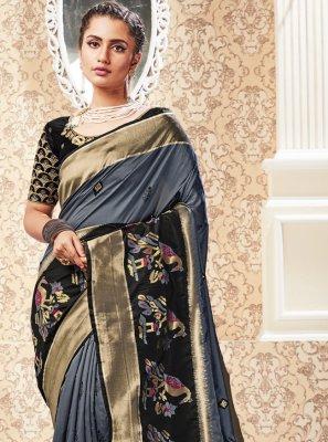 Black and Grey Weaving Silk Traditional Designer Saree