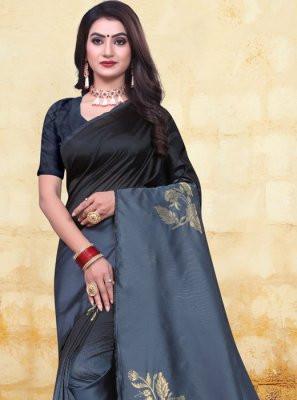 Black and Grey Woven Half N Half  Saree