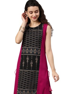Black and Hot Pink Faux Crepe Party Casual Kurti