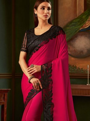 Black and Magenta Ceremonial Trendy Saree