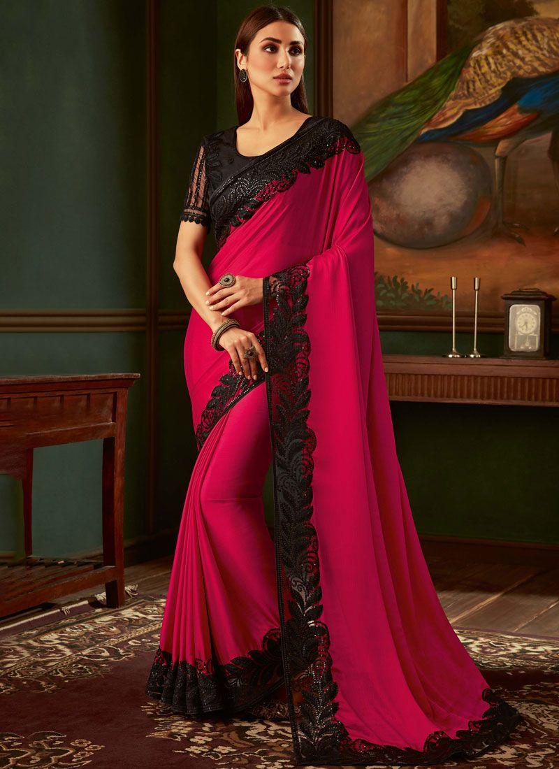 Black and Magenta Ceremonial Trendy Saree