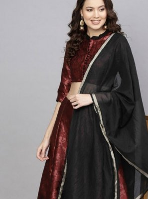 Black and Maroon Embroidered Art Silk Readymade Lehenga Choli