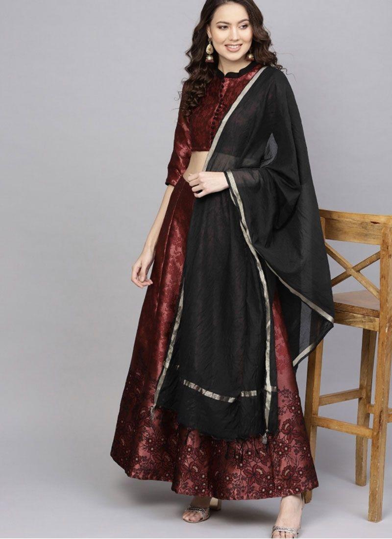 Black and Maroon Embroidered Art Silk Readymade Lehenga Choli