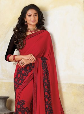 Black and Red Georgette Printed Classic Designer Saree