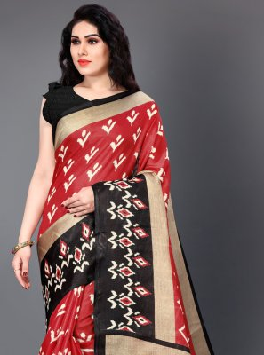 Black and Red Party Casual Saree
