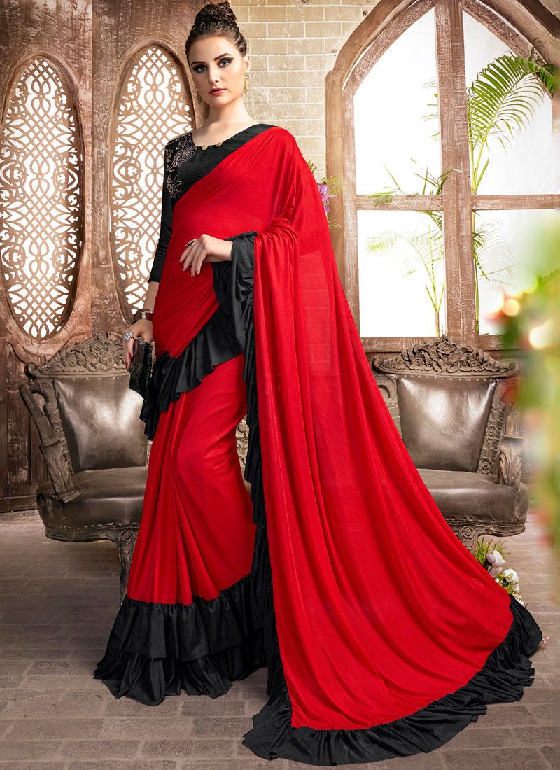 Black and Red Plain Lycra Casual Saree