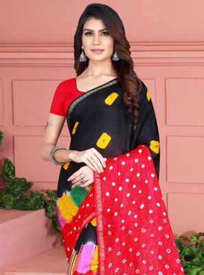 Black and Red Printed Casual Casual Saree
