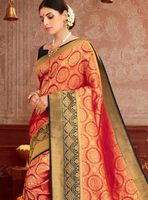Black and Red Traditional Saree