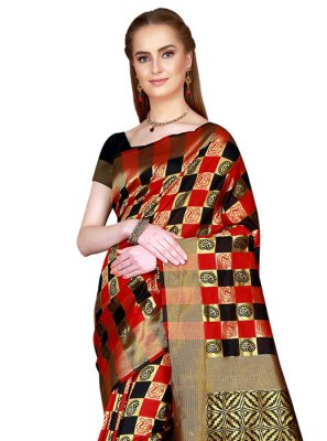 Black and Red Woven Casual Saree