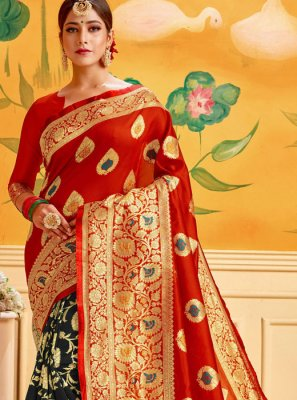 Black and Red Woven Cotton Casual Saree