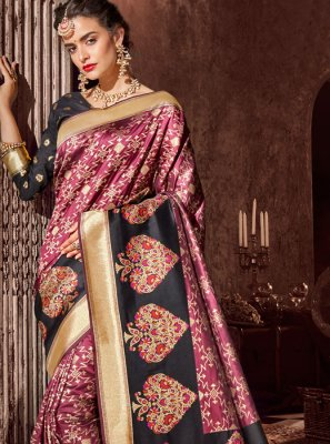 Black and Rust Weaving Designer Half N Half Saree