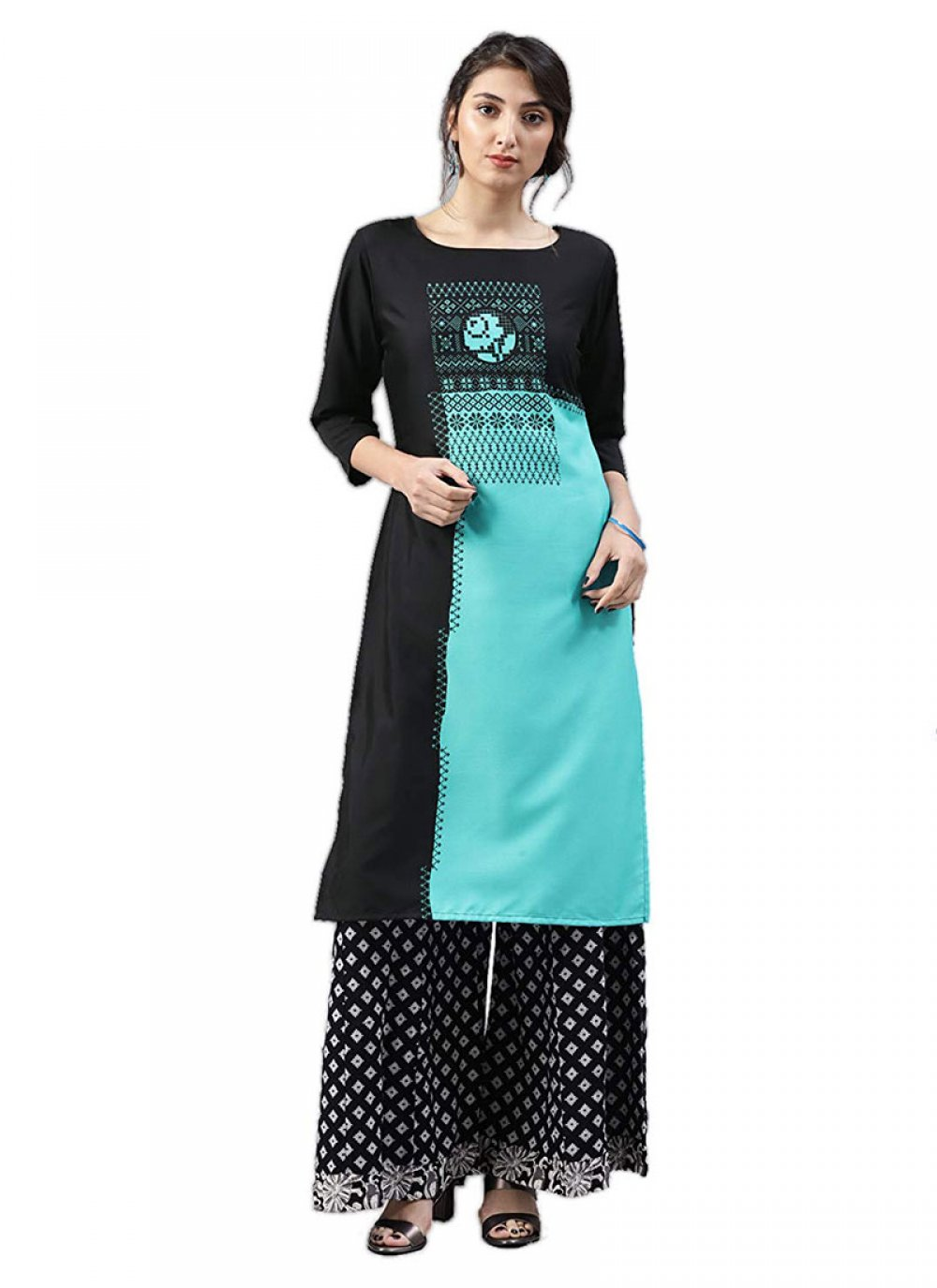 Black and Turquoise Casual Faux Crepe Casual Kurti