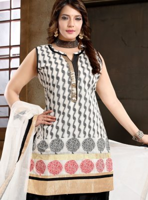 Black and White Color Designer Patiala Suit