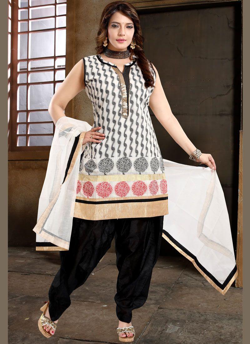 Black and White Color Designer Patiala Suit
