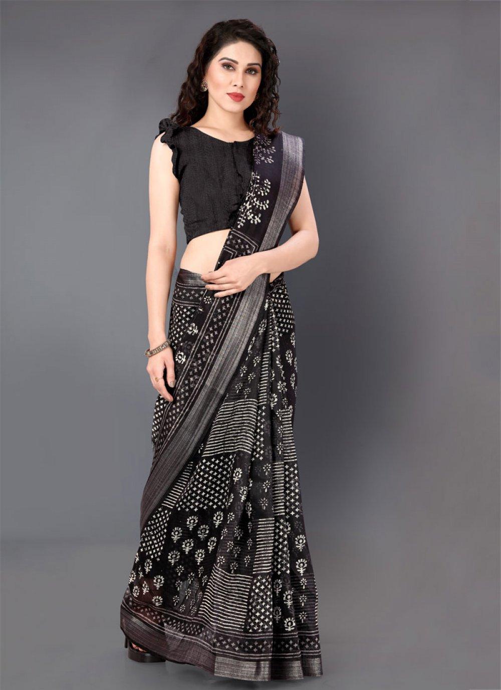 Black and White Festival Cotton Saree
