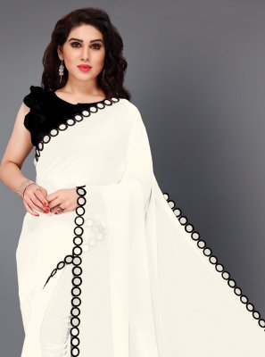 Black and White Mirror Festival Trendy Saree
