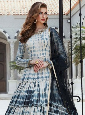 Black and White Print Cotton Silk Readymade Gown
