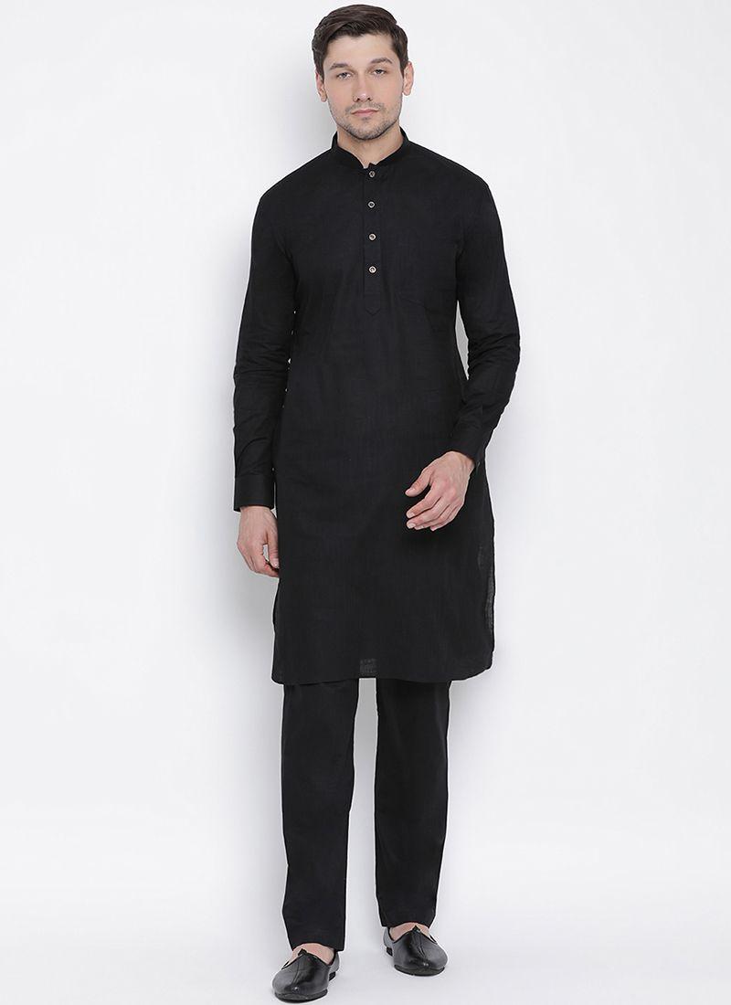 Black Art Banarasi Silk Kurta Pyjama