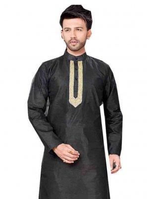 Black Art Dupion Silk Embroidered Kurta Pajama