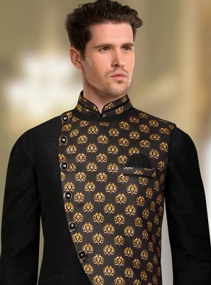 Black Art Silk Nehru Jackets