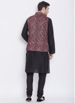 Black Art Silk Sangeet Kurta Payjama With Jacket