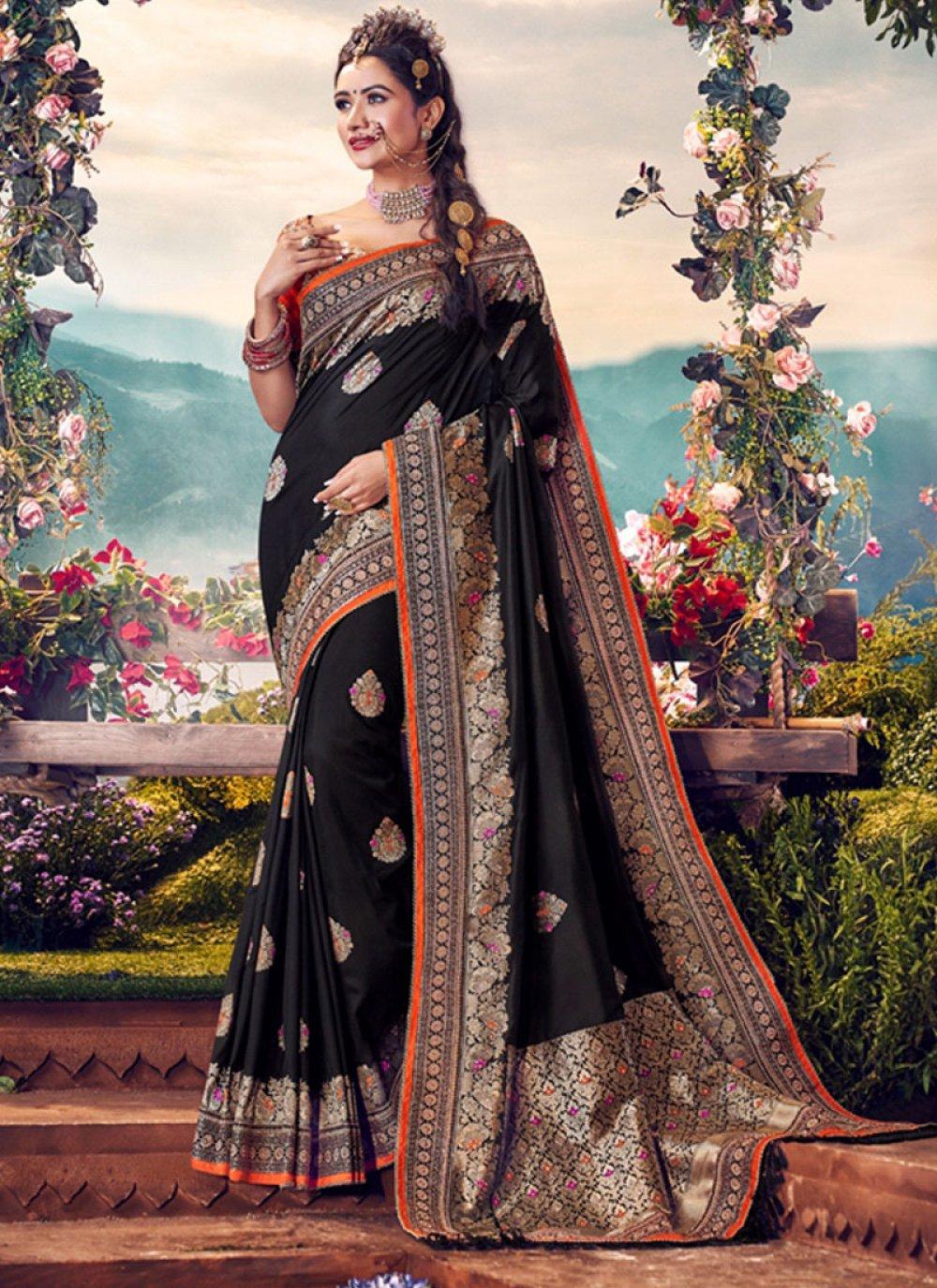 Black Banarasi Silk Embroidered Classic Saree