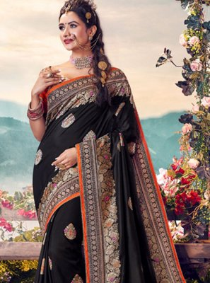 Black Banarasi Silk Embroidered Classic Saree