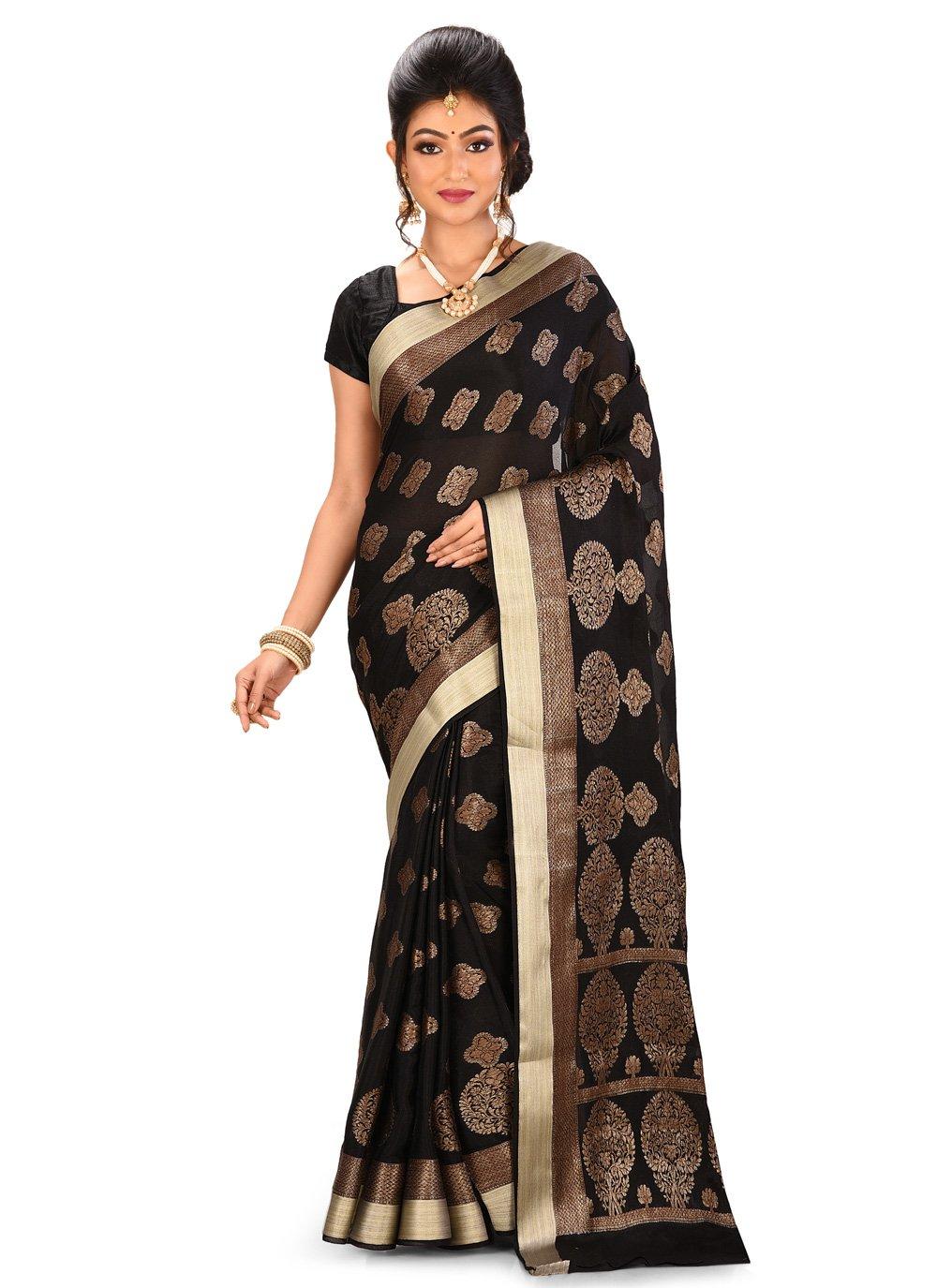 Black Banarasi Silk Engagement Trendy Saree