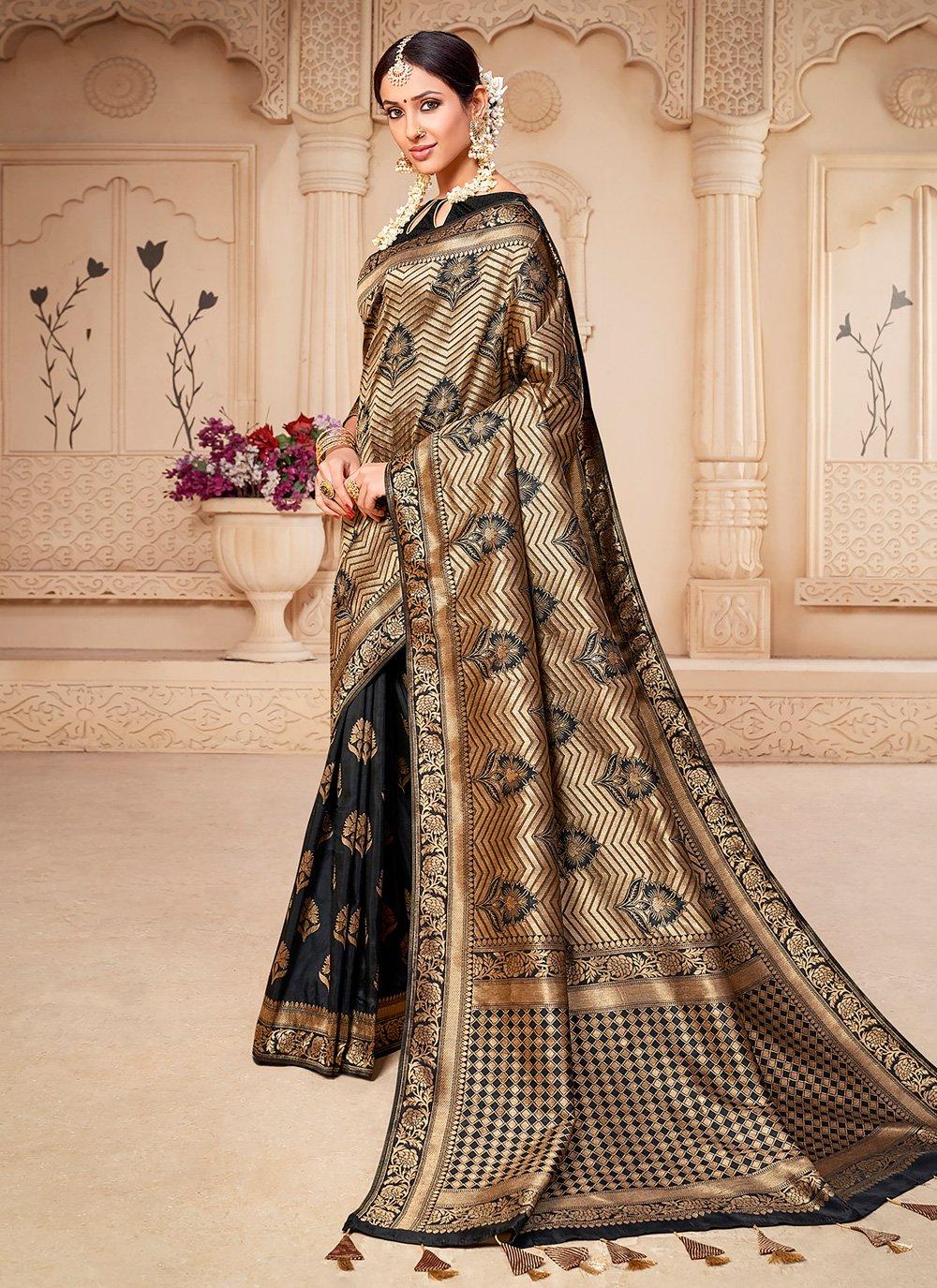 Black Banarasi Silk Weaving Designer Saree
