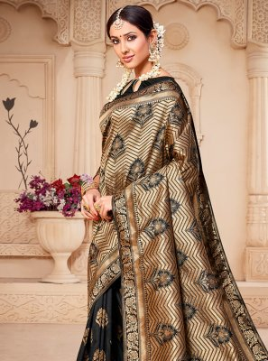 Black Banarasi Silk Weaving Designer Saree