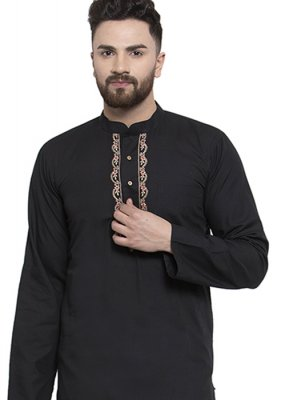 Black Blended Cotton Party Kurta