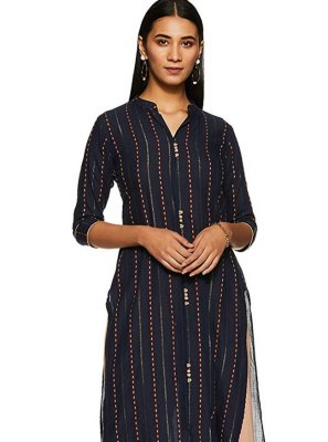 Black Casual Cotton Party Wear Kurti