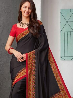 Black Casual Faux Crepe Printed Saree