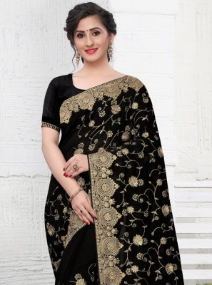 Black Ceremonial Silk Trendy Saree