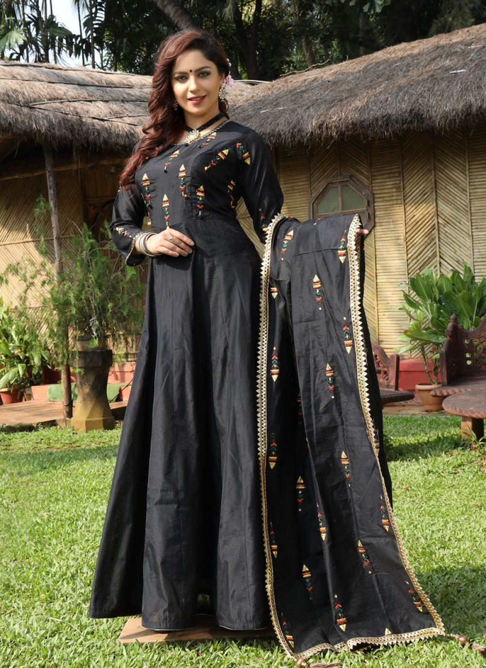 Black Chanderi Designer Gown