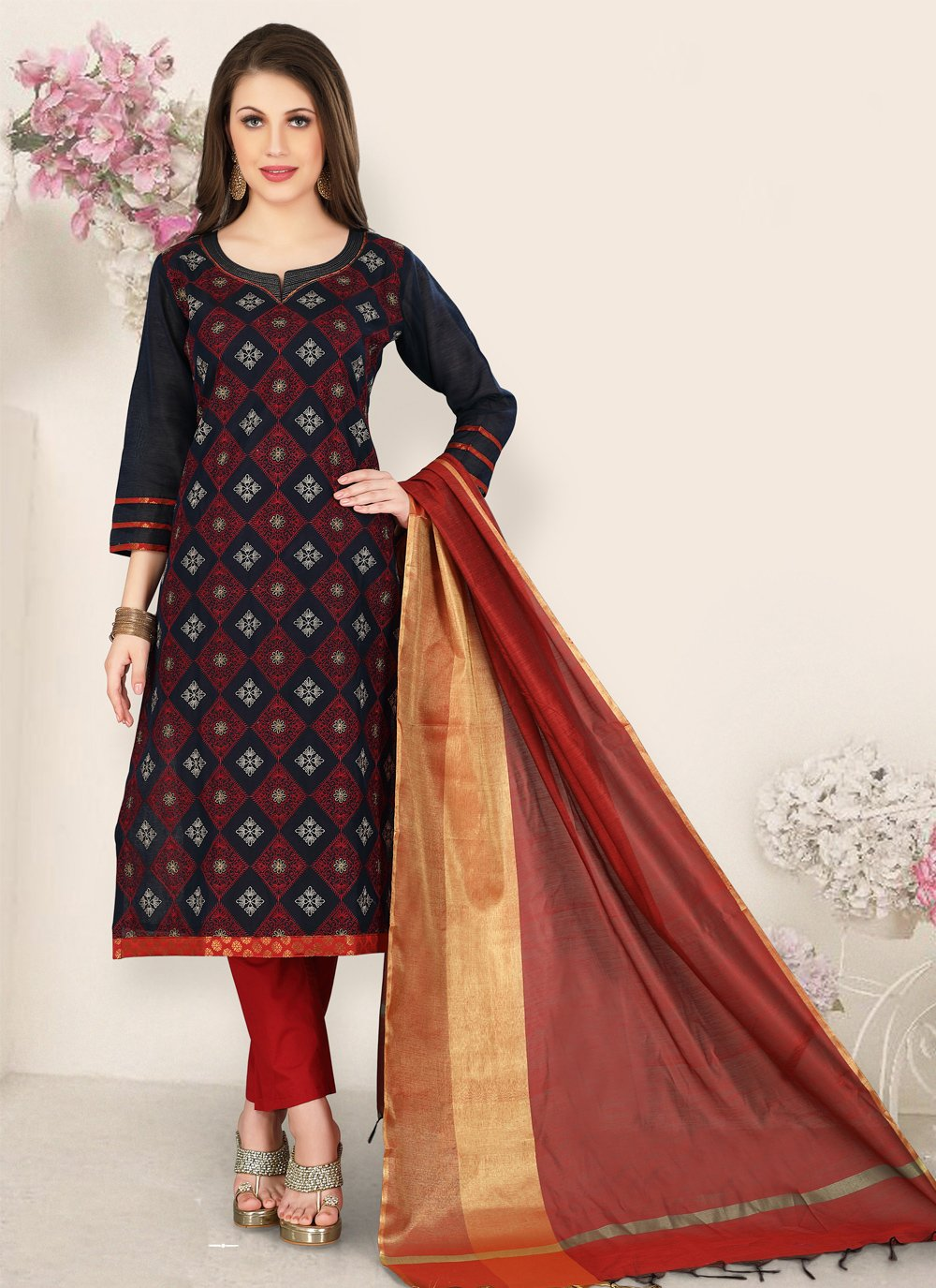 Black Chanderi Salwar Suit