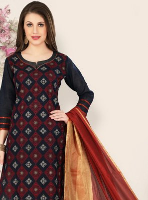 Black Chanderi Salwar Suit